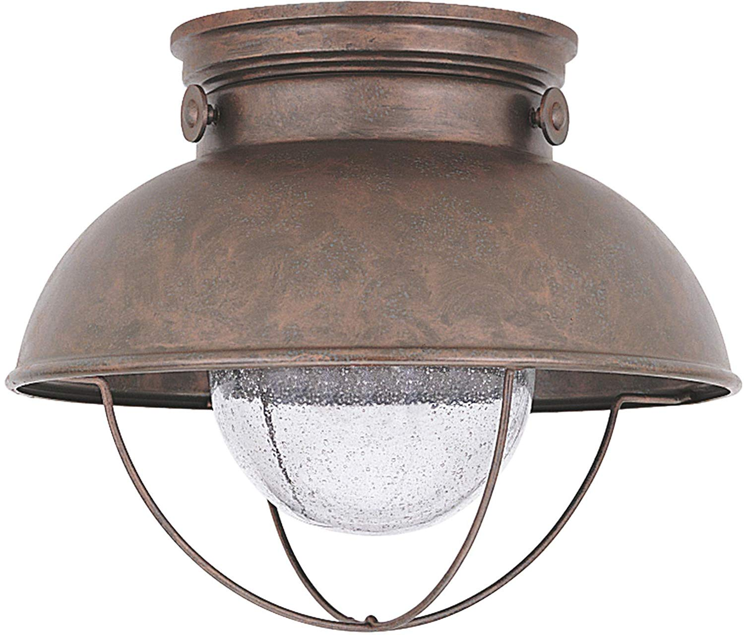 Sea Gull Lighting 886993S-44 Sebring Outdoor Flush Mount, 1-Light LED 14 Watts, Weathered Copper