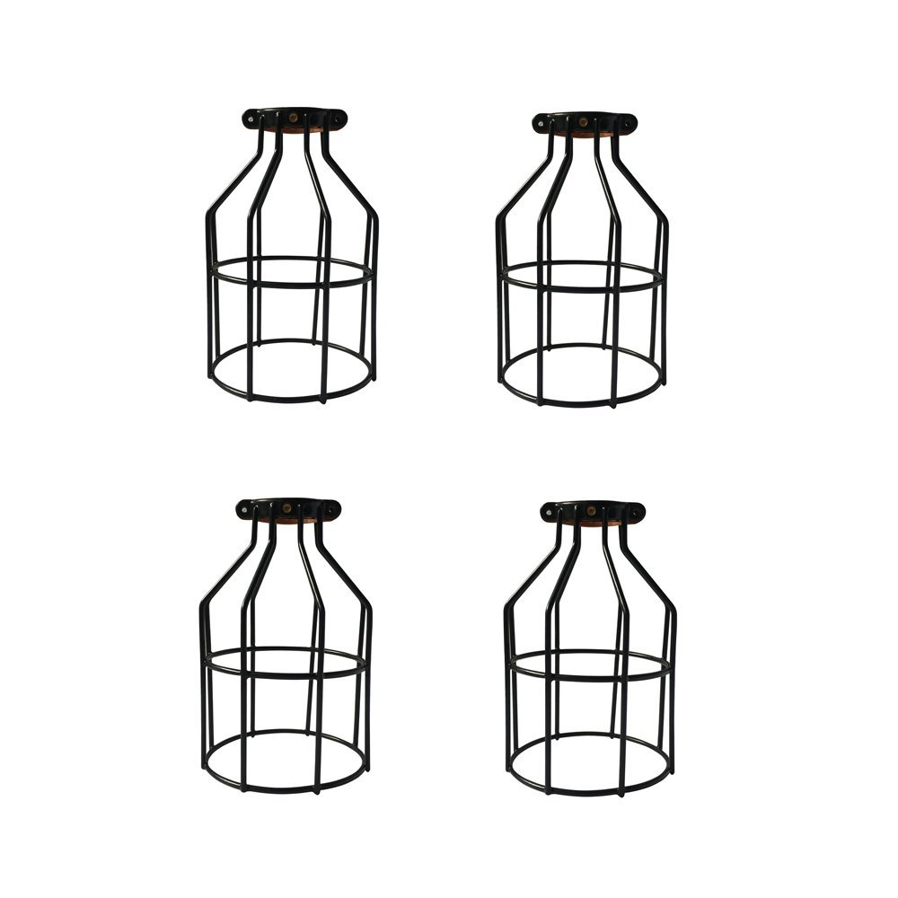 PRUNLLA Industrial Metal Lamp Guard, Clamp On Lamp Cage, Vintage Lamp Holders, Wire Iron Bird Cage,4-Pack