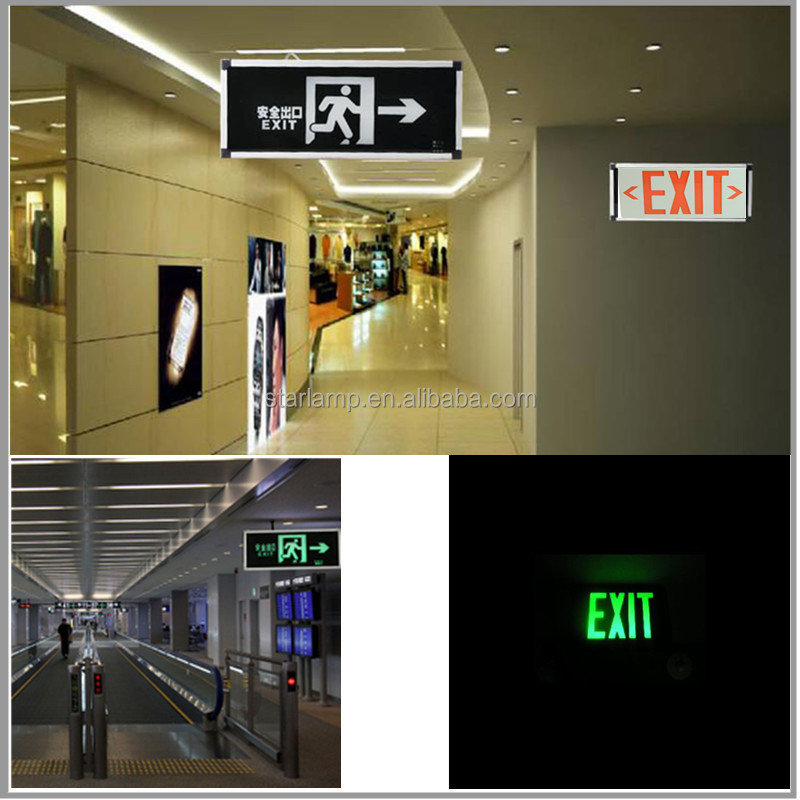 Led Backup Battery Emergency Light Rechargeable Exit Sign With Two ...