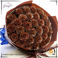 Coffee Color Artificial Roses Flowers Romantic Gifts Silk Flowers GYHB-180