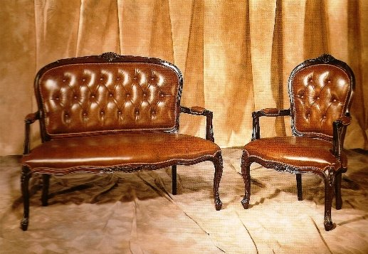 Reprodution Leather Chair And Two Seater