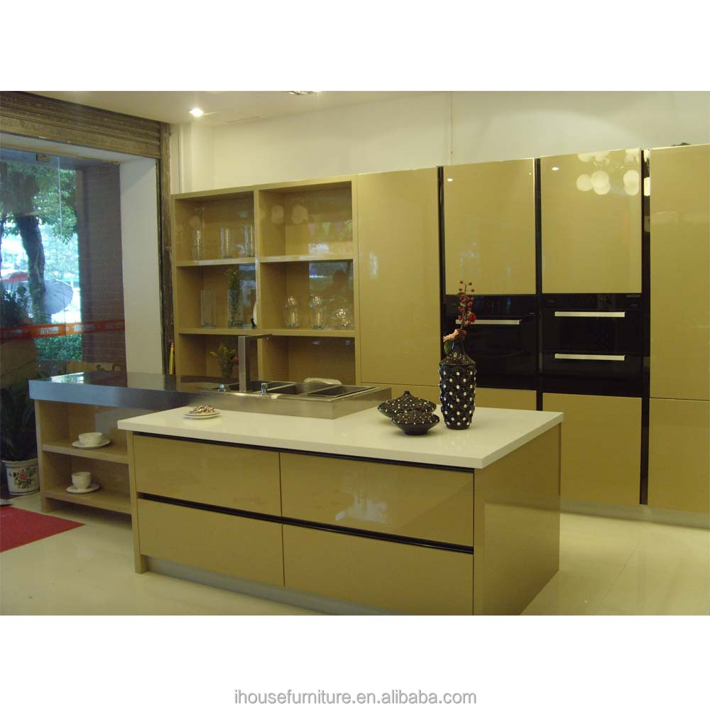 Top Grade Quality Glass Gloss Lacquer Kitchen Cabinet Island Design From China/Glass Gloss Laquer Kitchens