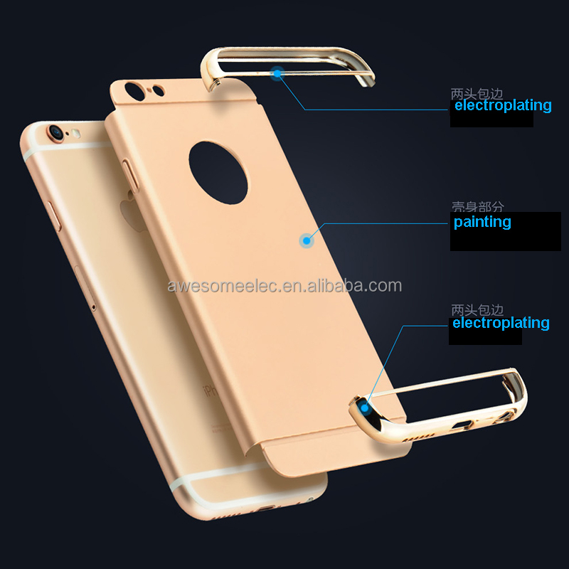 (Factory) New Arrival fashion 3 in 1 electroplating PC hard shockproof plastic back Mobile Phone Case cover for Iphone 7