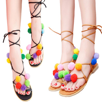 46bfcc17d54e66 New Fashion Women Flat Sandals Colorful Bobble Pompon Lace Up Strappy Clip  Toe Casual Summer Beach