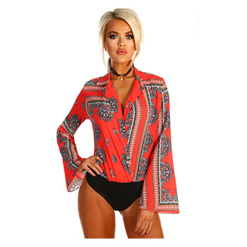 Women Mesh Lace Sexy  Bodysuit Red Printed High Street  Romper Long Sleeve Wrap  V-Neck Jumpsuit