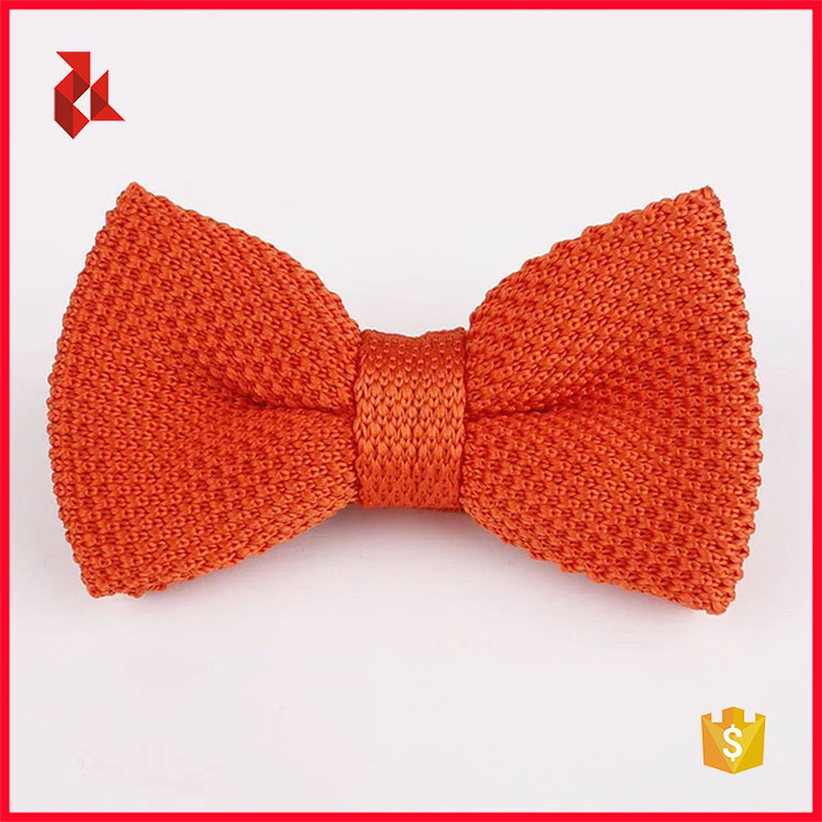 100% Polyester Orange Knit Bow Ties