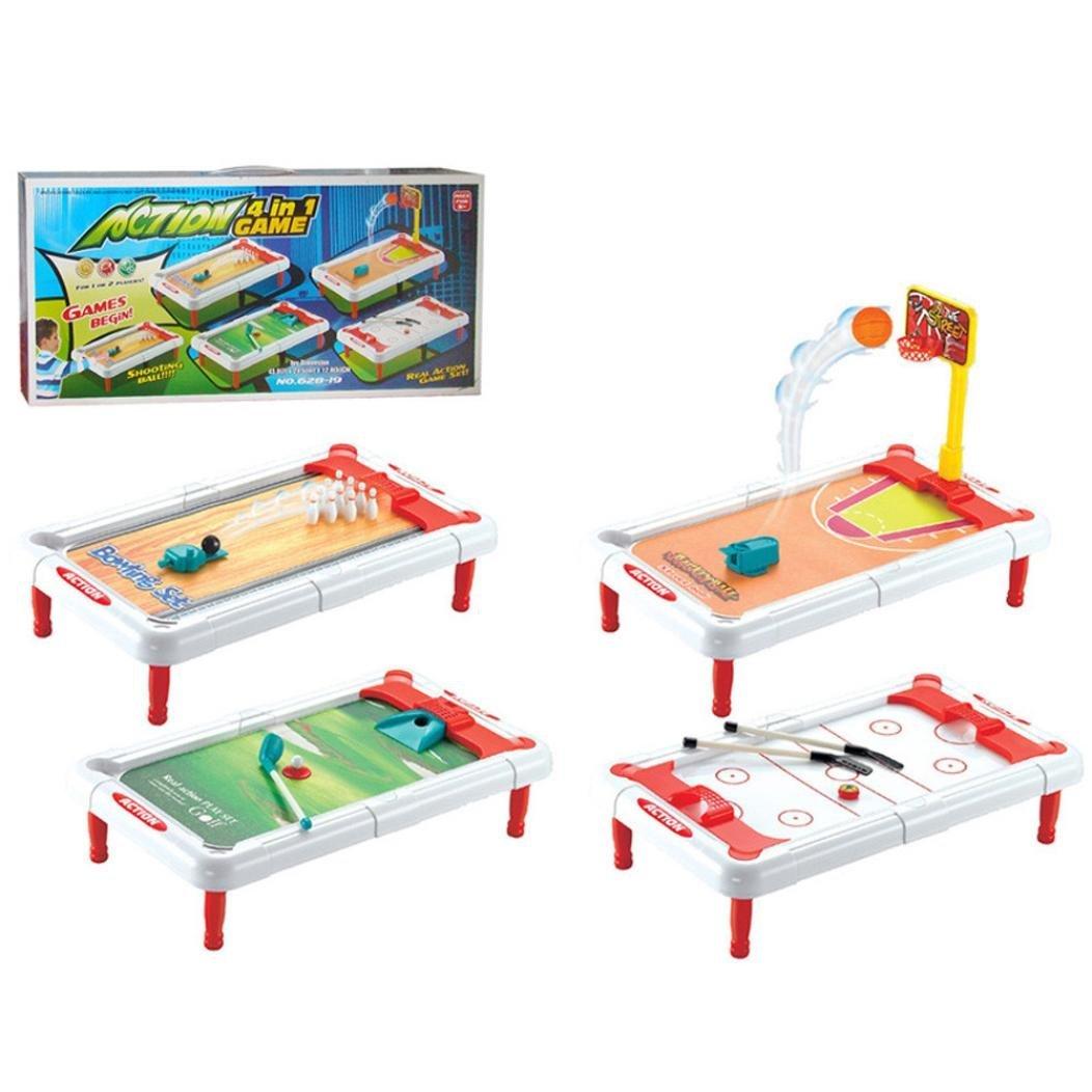 Desktop Balls Games Set, Sacow 4 in 1 Desktop Mini Basketball / Golf / Bowling / Billiards Set Family Fun Parent-child Game