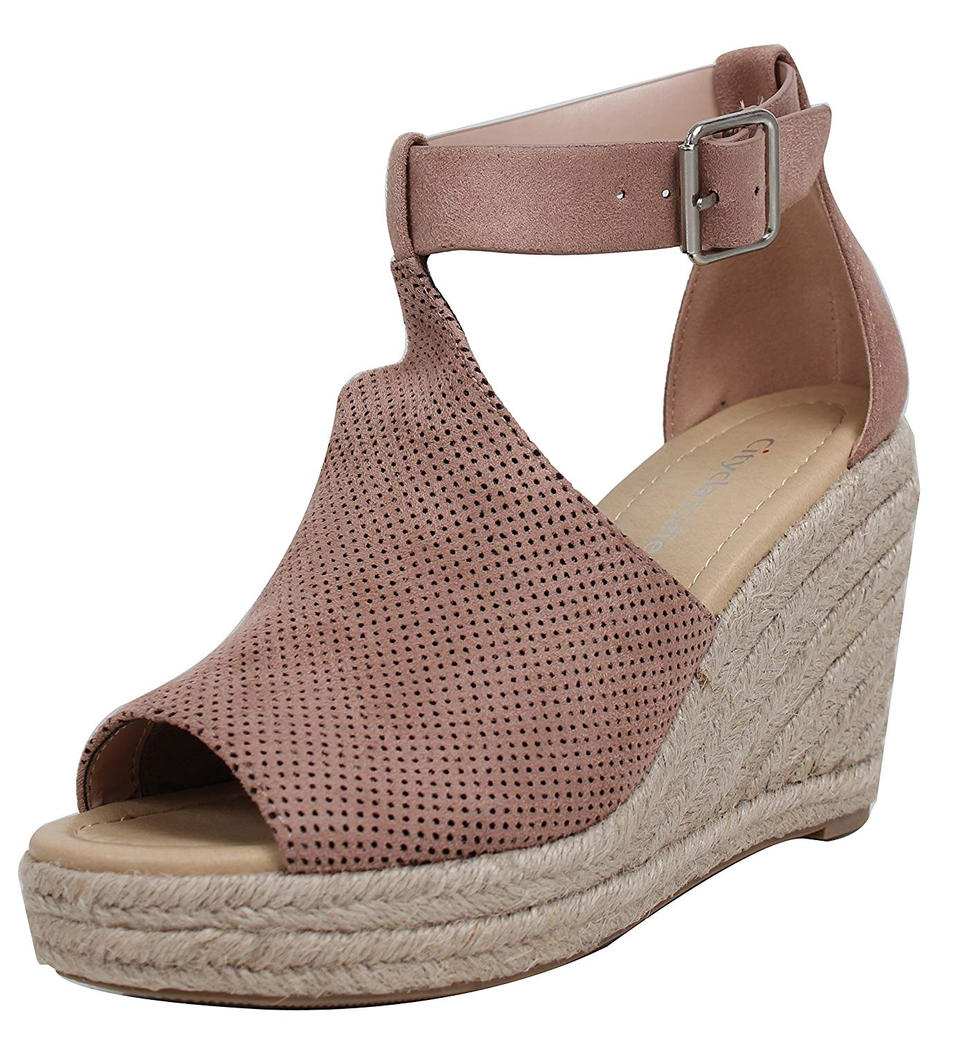 City Classified Women/'s Peep Toe Perforated Ankle Strap Espadrilles Wedge