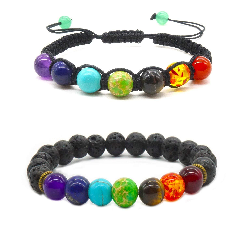 2 X Handmade Bracelets Gemstone Lava Beads Healing Balancing Power Bracelet Set