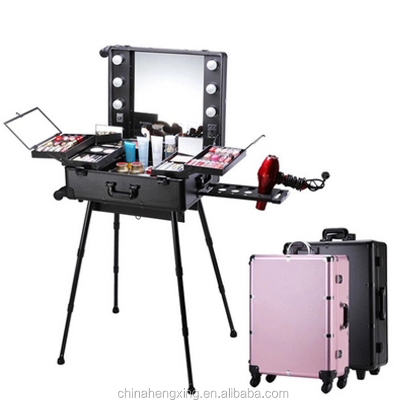 "24 ""Factory quality Makeup table case aluminium large cosmetic case with light inside"