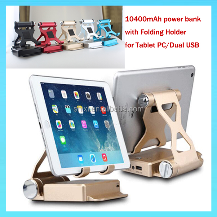 2016 trending products Special 10400mAh Power bank with 2 usb ports+Metal Stand Holder,New Design Product Power bank