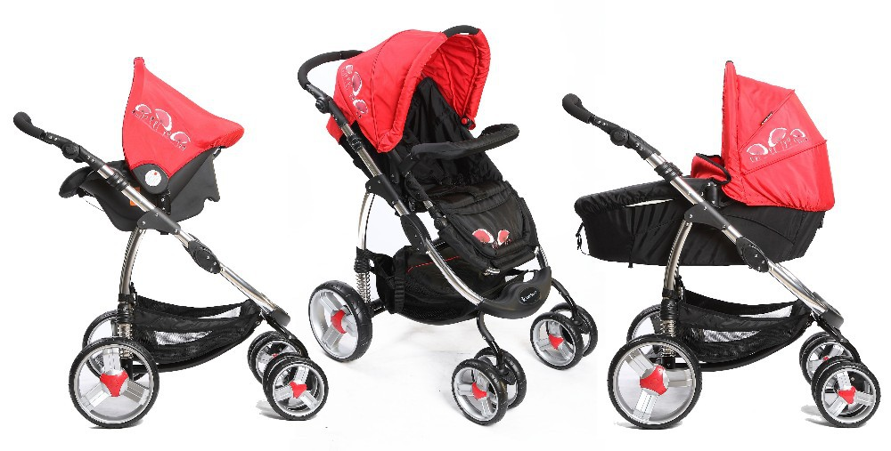 EN 1888 folding and light weight baby stroller 3 in 1 with carrycot and carseat