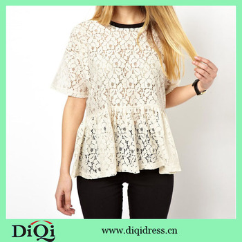China Manufacturer 2014 Popular Lace Ladies Crochet Blouse Patterns