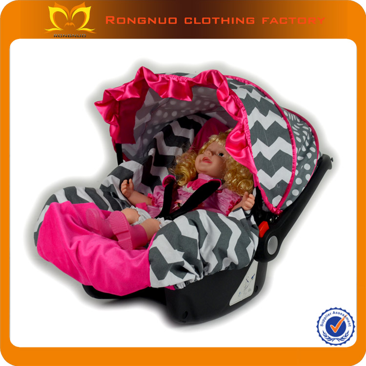 Novelty Hot Pink Fleece Grey Chevron Carseat Canopy Infant Car Seat Covers