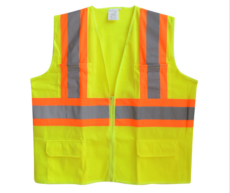 2016 SUNWAY Hot sale Construction Reflective Working Safety Vest with Zipper