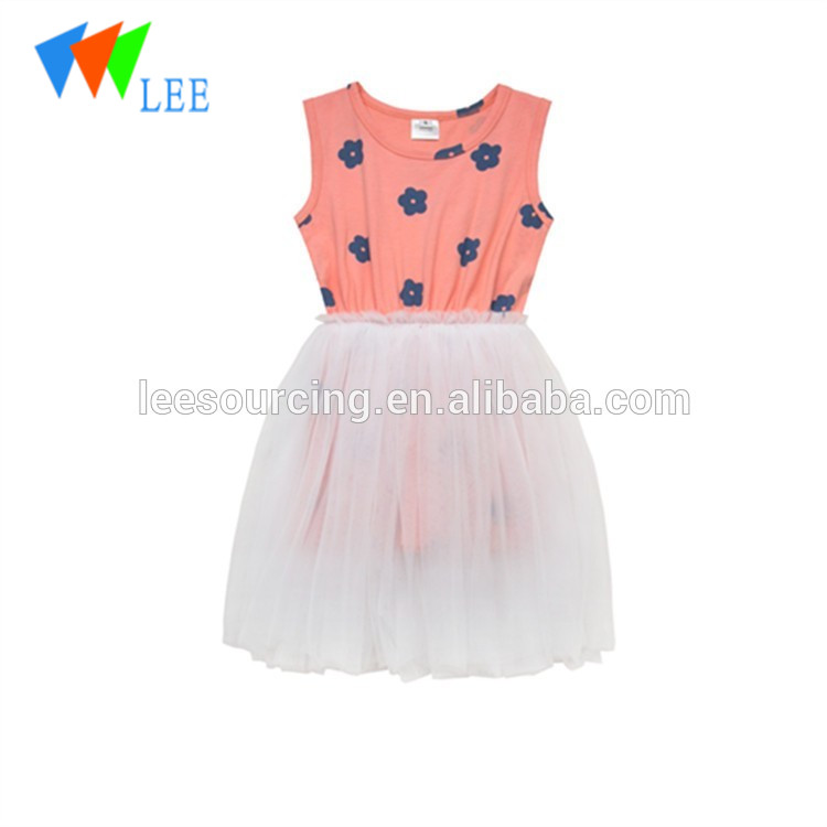 High quality smocked design round neck sleeveless white tulle casual dress princess girl tutu one-piece