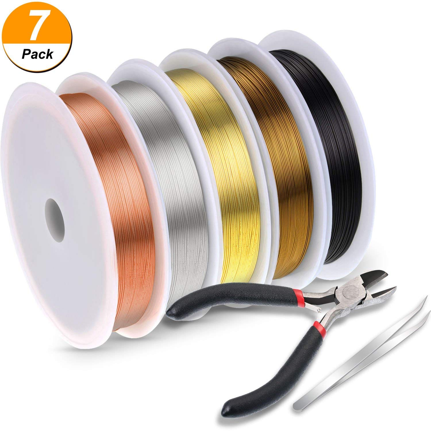 Frienda 5 Rolls 26 Gauge Copper Wire Beading Wire with Cutting Plier and Tweezer for Jewelry Making DIY