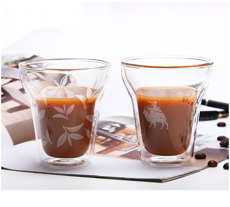 Mouth-blown  Heat Resistant Borosilicate Double Wall  Glass  Cup