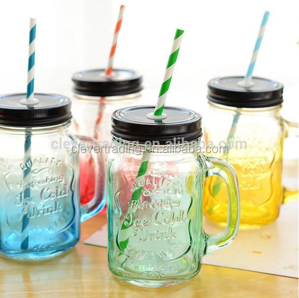 Colored clear 550ml glass mason jar glass storage bottles and jars