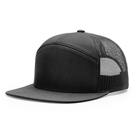 Customized Plain Color 7 Panel Snapback Trucker Hats With Sweatband