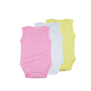 sublimation blank custom print white unisex New born baby boy clothes girls clothing sleeveless plain baby onesie rompers