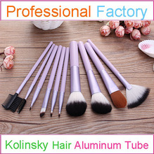 10pcs Professional Purple Cosmetic Brush Kolinsky Hair Makeup Brush