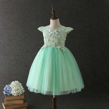 b70fc14ab91b1 High quality OEM Angel Green Short sleeves Embroidery Flower girls party  dresses Lovely Fluffy Tulle Kids