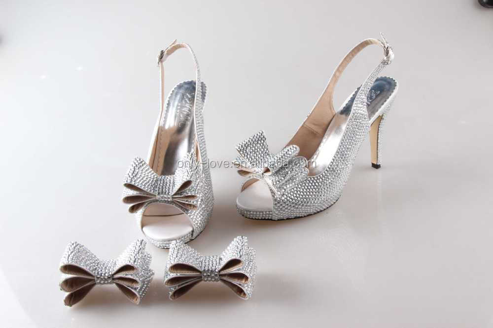 BS897 Custom Handmade Silver Rhinestones Bow Sling Back Bridal Wedding  Shoes Sandals Party Shoes