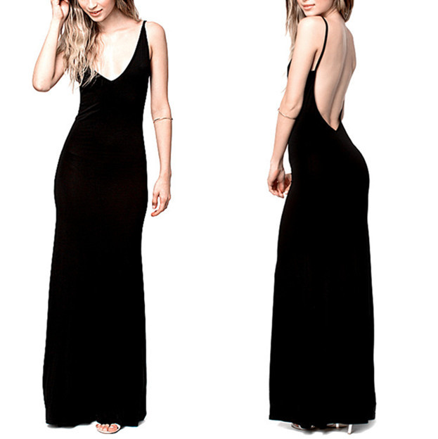 229706255a1 Get Quotations · 6XL Plus Size Women Black Long Maxi Summer Dress Sexy Club  Wear Party Bodycon Dress Spaghetti