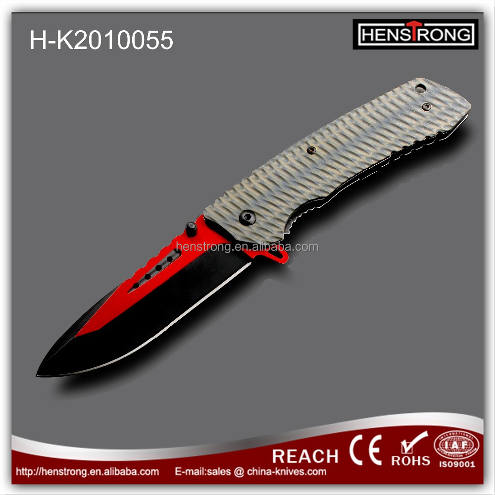 Mix Color G10 Handle Knife Stainless Steel Blade Folding Knife