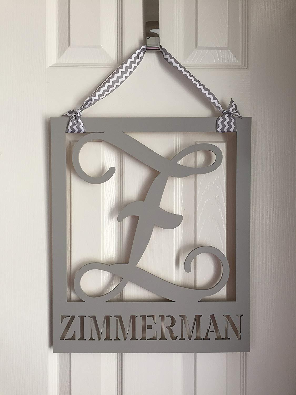 Family Monogram Door Hanger - Last Name Door Hanging - Wood Square Door Hanger - Wedding Gift - Housewarming Gift - Wooden Door Decor