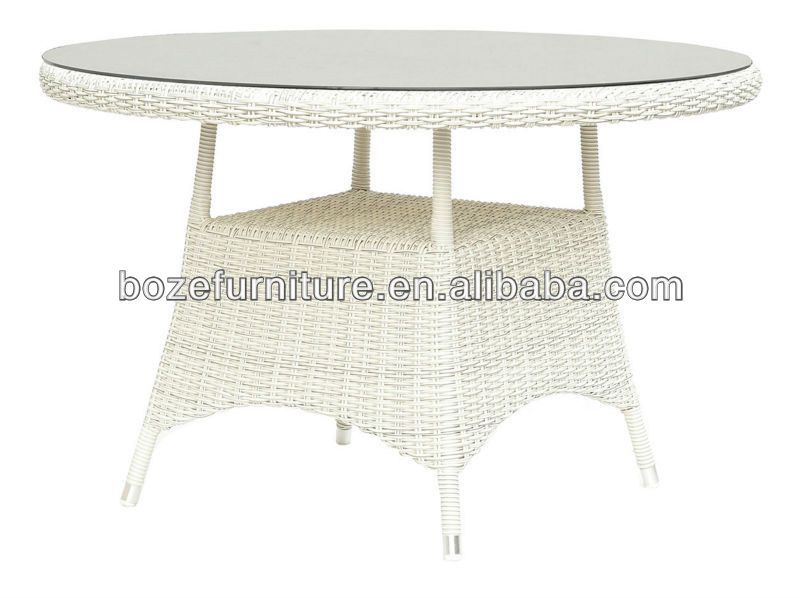 White Wicker Round Dining Table