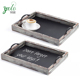Rustic Style Chalkboard Surface Nesting Breakfast Wood Serving Trays with Decorative Handles