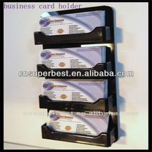 Black wall mounted acrylic business card holder with 4 pockets