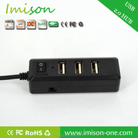 USB 2.0 Hub 4 Port with 1 Super Speed Switch Power Cable For PC Universal