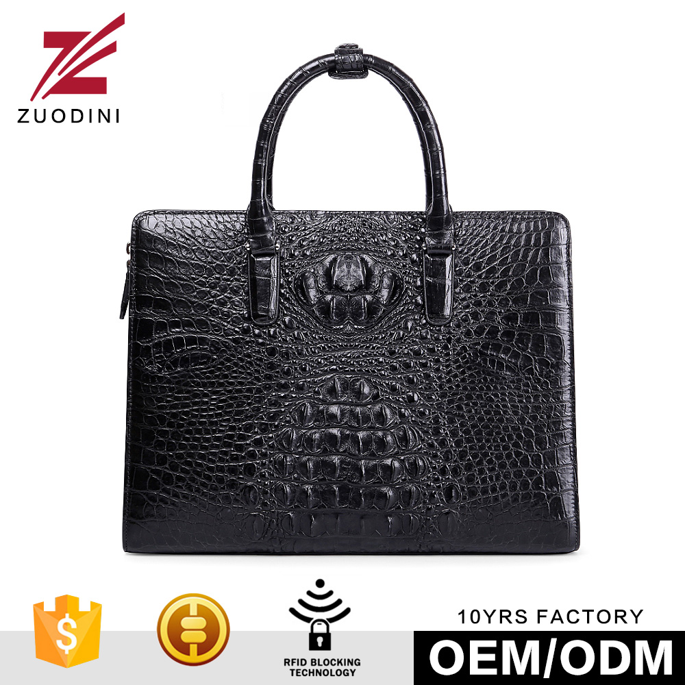 Gents RFID Blocking Original Crocodile Skin Leather Lawyer Aluminum Briefcase Bag