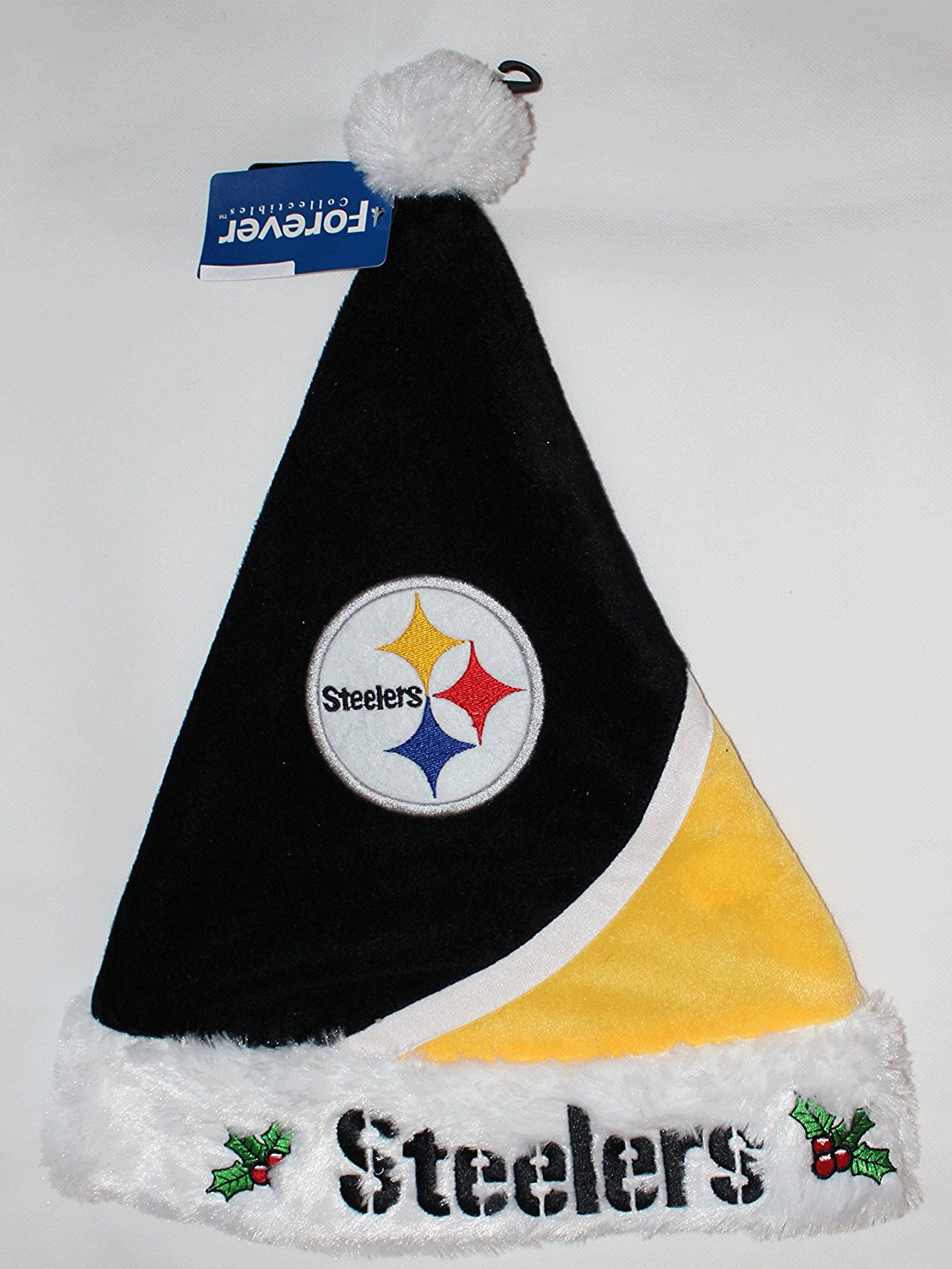 Forever Collectibles Pittsburgh Steelers Plush Holly NFL Team Logo Santa Hat