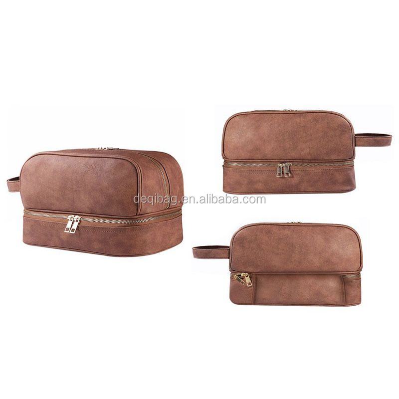 Leather Toiletry Bag Men Travel Toiletry Organizer Shaving Dopp Kit for Business Trips Vacations Sport