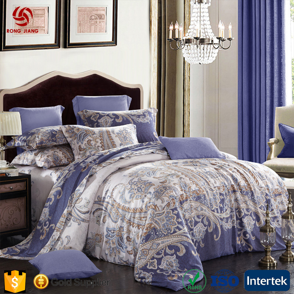 Wholesale silk cotton four-piece set and can be customized to be fitted with 1.8 bedding sheets