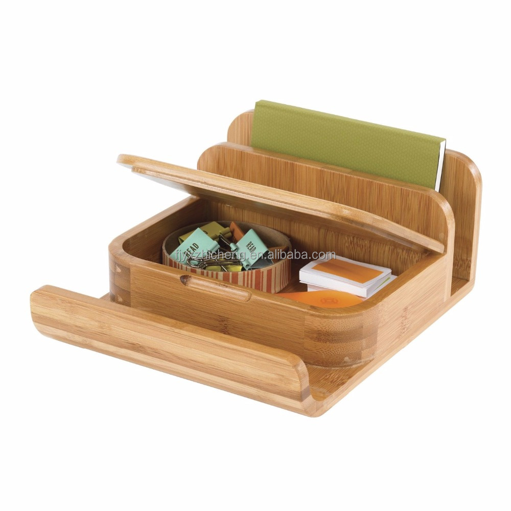 Home Office Bamboo Desk Supplies Organizer Caddy Magazine Slots, Shelf & Office Supply Holder