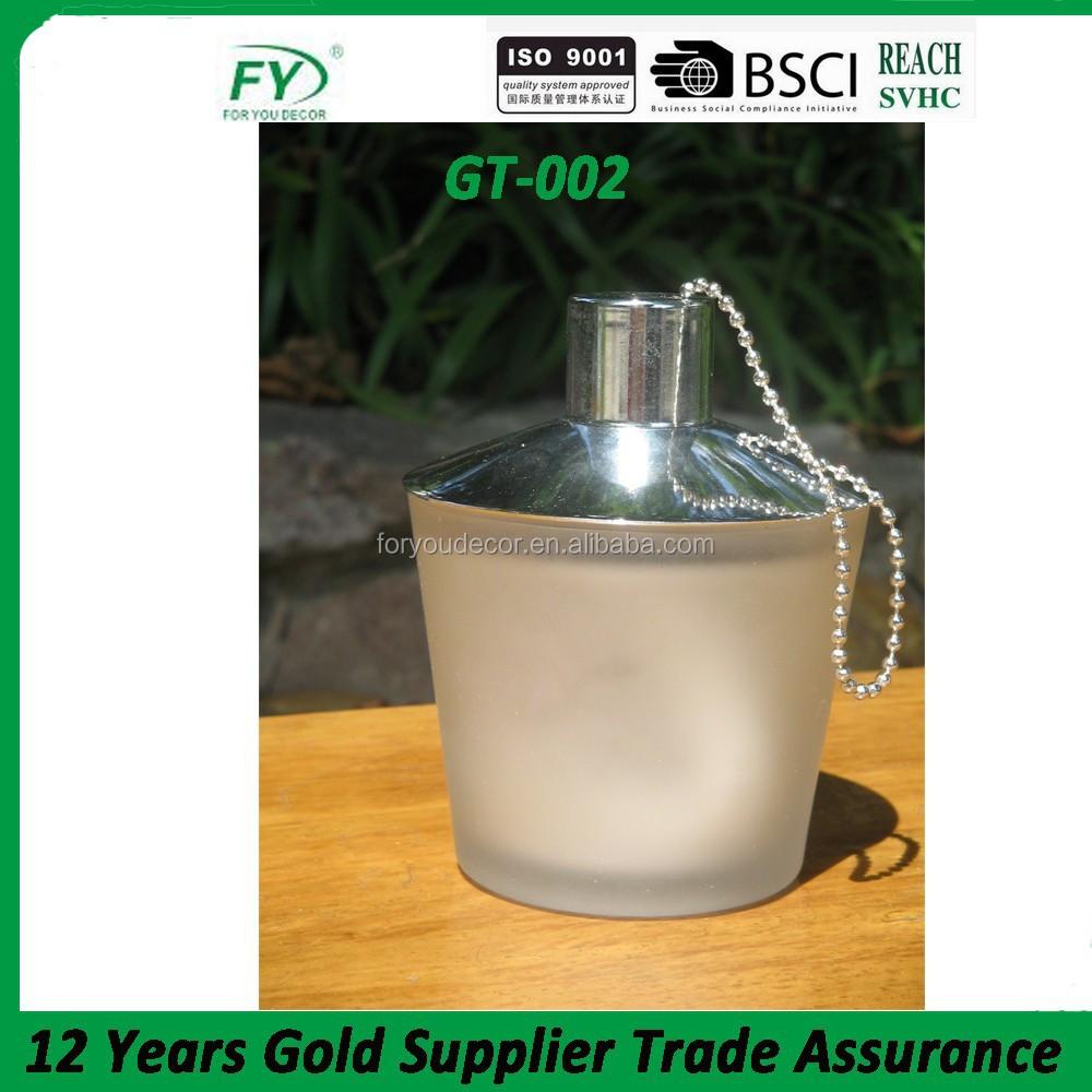 Color table verre huile lampe jardin torche avec fiber de - Meche lampe huile ...