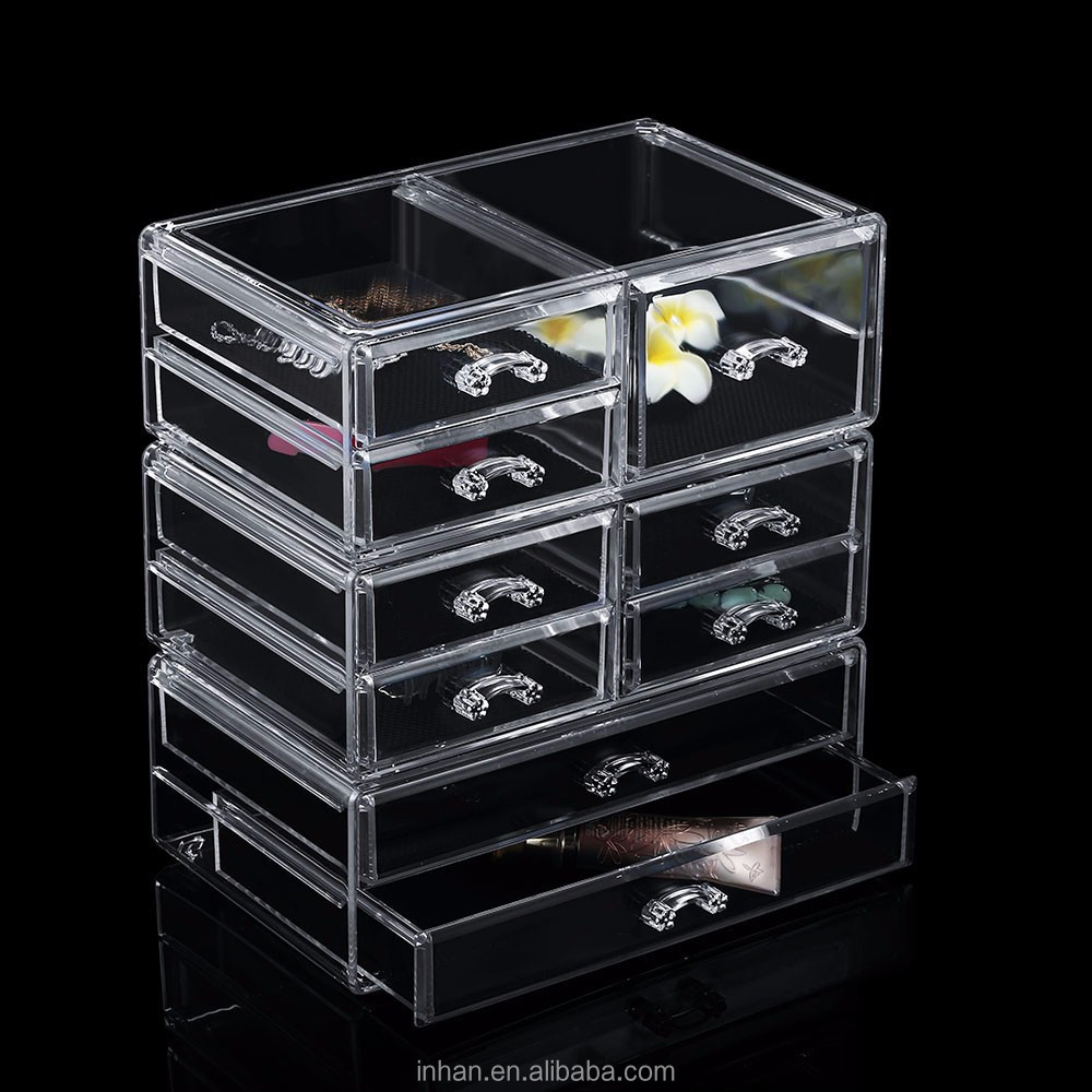 9 drawers acrylic makeup organizer clear transparent mac large makeup box cosmetic organizer