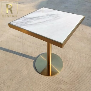 popular modern marble top gold stainless steel base square talking table cafe coffee dining table