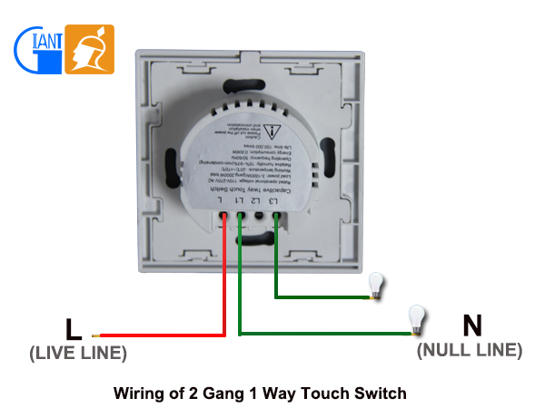 Uk Standard 2 Gang 1 Way Glass Led Smart Touch Dimmer Wall Light ...