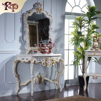 Luxury Clic Furniture Soild Wood Gold Foil Leaf Gilding Console Table