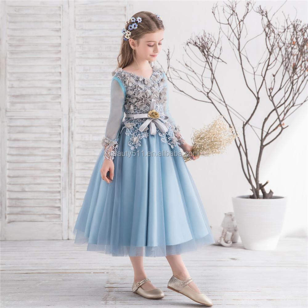 2018 Sleeve Flower Party Wear Dresses For Girls Light Gray Handmade ...
