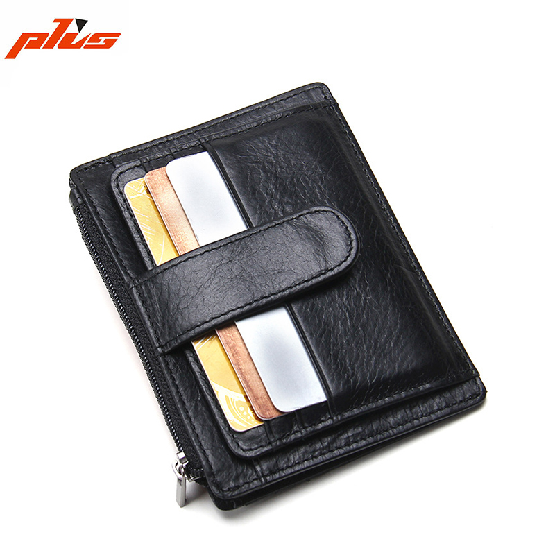 Custom Black Business Metro Genuine Leather Money Clip Credit Card Holder