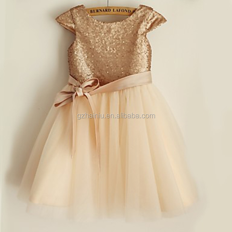 champagne dancing club baby girl dresses sequins party top cap sleeve short hallowmas kids clothes birthday tulle skirts