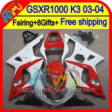 8Gift For SUZUKI GSX R1000 2003 2004 K3 Red white GSX-R1000 2HM17 GSXR 1000 K3 03-04 GSXR-1000 GSXR1000 Red new 03 04 Fairing