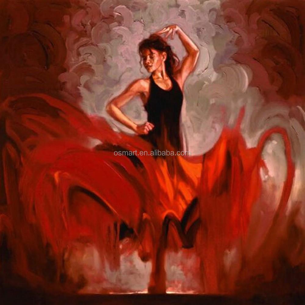 usine prix de haute qualit main peinture l 39 huile de danse flamenco peinture et calligraphie. Black Bedroom Furniture Sets. Home Design Ideas